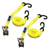 "1"" X 15FT Yellow Mini Ratchet Tie Down Assemblies with Vinyl S Hooks"