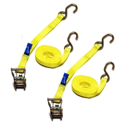 "1"" X 12FT Yellow Mini Ratchet Tie Down Assemblies with Zinc Hooks"
