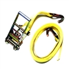 "One 3"" X 30FT Yellow Tie Down Ratchet Assembly with Wire Hooks"