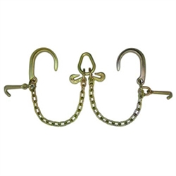 "GRADE 70 V Chain with 8"" J Hooks, Mini J Hooks, Grab Hooks, and Pear Link"