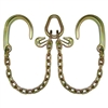 "GRADE 70 Leg V Chain with 8"" J Hooks, Grab Hooks, and Pear Link"