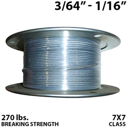"3/64"" - 1/16"" 7X7 Vinyl Coated Aircraft Cable"