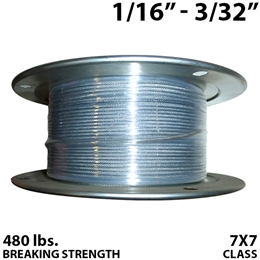 "1/16"" - 3/32"" 7X7 Vinyl Coated Aircraft Cable"