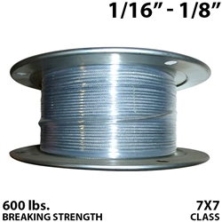 "1/16"" - 1/8"" 7X7 Vinyl Coated Aircraft Cable"