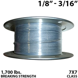 "1/8"" - 3/16"" 7X7 Vinyl Coated Aircraft Cable"