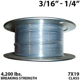 "3/16"" - 1/4"" 7X19 Vinyl Coated Aircraft Cable"