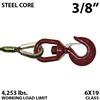 "3/8"" Steel Core Winch Line with Thimbled Eye and Swivel Eye Hoist Hook with Latch"