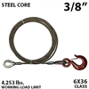 "3/8"" X 35FT IWRC winch line extension with GRADE 70 eye hoist hook"