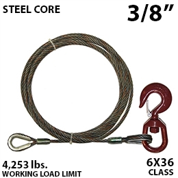 "7/16"" X 35FT IWRC winch line extension with GRADE 70 swivel hoist hook"