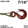 "7/16"" Steel Core Winch Line with Thimbled Eye and Eye Hoist Hook with Latch"