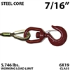 "7/16"" Steel Core Winch Line with Thimbled Eye and Swivel Eye Hoist Hook with Latch"