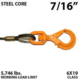 "7/16"" Steel Core Winch Line with Thimbled Eye and Self Locking Swivel Hook"