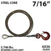 "7/16"" X 35FT IWRC Winch Line Extension with GRADE 70 Fixed Eye Hook"