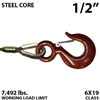 "1/2"" Steel Core Winch Line with Thimbled Eye and Eye Hoist Hook with Latch"