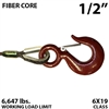 "1/2"" Fiber Core Winch Line with Thimbled Eye and Eye Hoist Hook"