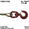 "1/2"" Fiber Core Winch Line with Thimbled Eye and Swivel Eye Hoist Hook"