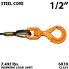 "1/2"" Steel Core Winch Line with Thimbled Eye and Self Locking Swivel Hook"