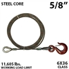 "5/8"" X 35FT IWRC winch line extension with GRADE 70 eye hoist hook"