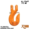 "1/2"" Grade 100 Clevis Grab Hook w/ Latch"