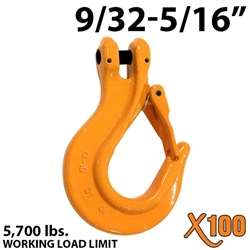 "9/32""-5/16"" Grade 100 Clevis Sling Hook with Latch"