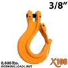 "3/8"" X100 Grade 100 Clevis Sling Hook with Latch"