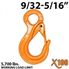 "9/32""-5/16"" X100 Grade 100 Eye Sling Hook with Latch"