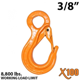 "3/8"" X100 Grade 100 Eye Sling Hook with Latch"