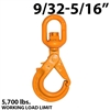 "9/32""-5/16"" X100 Grade 100 Eye Swivel Self Locking Hook"