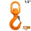 "1/2"" X100® Grade 100 Swivel Eye Self Locking Hook"