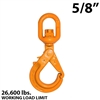 "5/8"" X100 Grade 100 Eye Swivel Self Locking Hook"