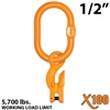 "1/2"" X100 Grade 100 Master Link with 9/32"" - 5/16"" Eye Grab hook with Adjuster for 1 leg sling"