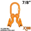"7/8"" Grade 100 Master Link with (2) 3/8"" Eye Grab hook with Adjuster for 2 leg sling."