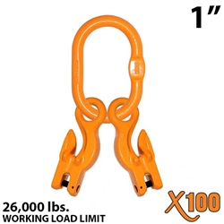 "1"" X100 Grade 100 Master Link with (2) 1/2"" Eye Grab hook with Adjuster for 2 leg sling."