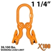 "1-1/4"" Grade 100 Master Link with (2) 5/8"" Eye Grab hook with Adjuster for 2 leg sling."