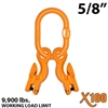 "5/8"" Grade 100 Master Link with (2) 9/32"" - 5/16"" Eye Grab hook with Adjuster for 2 leg sling."