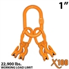 "1"" Grade 100 Master Link with (4) 3/8"" Eye Grab hook with Adjuster for 4 leg sling."