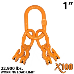 "1"" X100 Grade 100 Master Link with (4) 3/8"" Eye Grab hook with Adjuster for 4 leg sling."