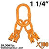 "1-1/4"" X100 Grade 100 Master Link with (4) 1/2"" Eye Grab hook with Adjuster for 4 leg sling."