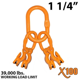 "1-1/4"" Grade 100 Master Link with (4) 1/2"" Eye Grab hook with Adjuster for 4 leg sling."
