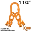 "1-1/2"" Grade 100 Master Link with (4) 5/8"" Eye Grab hook with Adjuster for 4 leg sling."