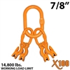 "7/8"" Grade 100 Master Link with (4) 9/32""-5/16"" Eye Grab hook with Adjuster for 4 leg sling."
