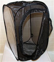 "Black 15"" by 15"" by 24"" Popup Cage with zipper protection (vinyl window)"