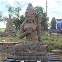 Large 3ft Tall Carved Stone Kwan Yin Buddha Statue
