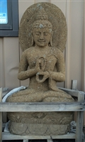Large Carved Stone Seated Buddha Statue