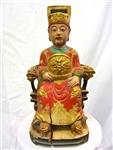 Antique Teak Wood Polychrome Chinese Emperor Statue - Circa 1920s