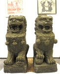 4ft Life Size Foo Dog Guardian Lion Sculptures Carved Stone Buddhist Statues