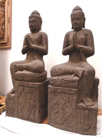 4ft Tall Hand Carved Stone Ornate Temple BUDDHA STATUES with Greeting Mudras