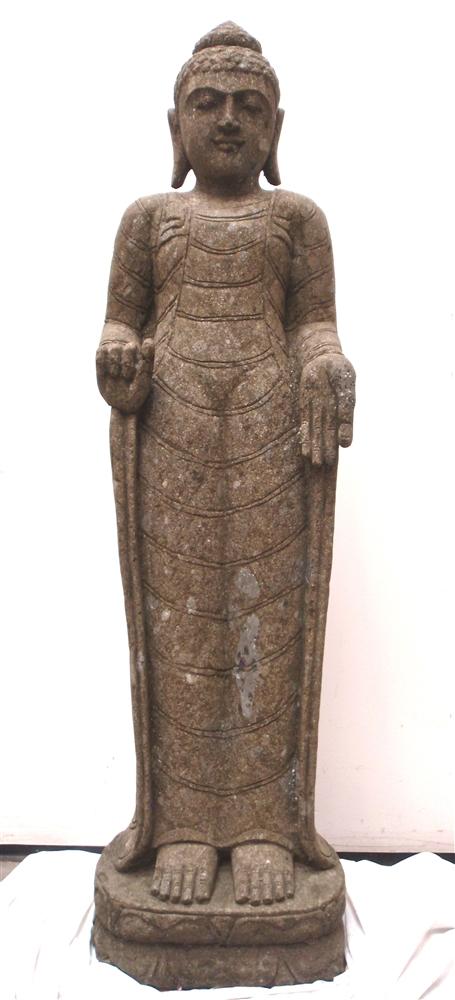 Hand Carved Green Stone Standing Buddha Statue Gandhara Style