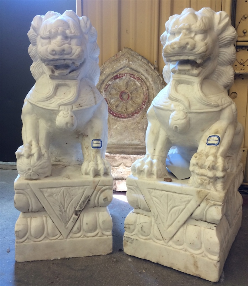 2ft Tall Antique White Marble Foo Dog Guardian Lion Statues From