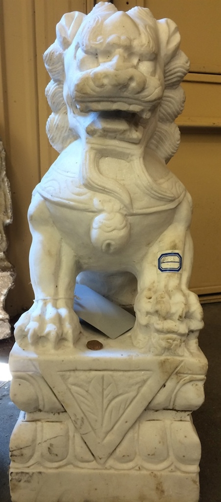 2ft antique white marble foo dog guardian lion statues from